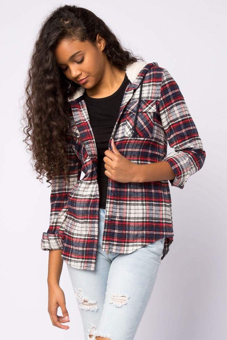 Girls Plaid Shirt with Sherpa Lined Hood