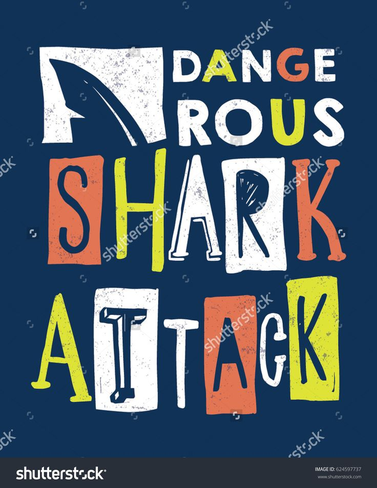 Hand drawn Dangerous shark attach slogan for kid t shirt and other uses