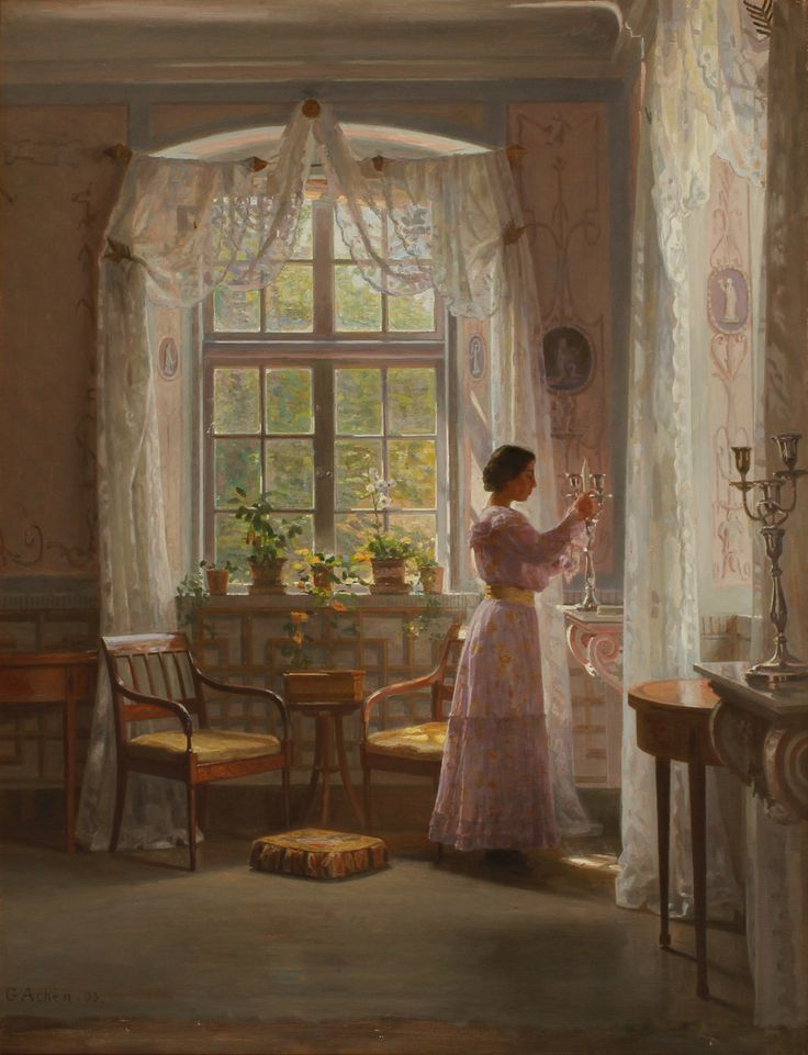 "GEORG ACHEN (1860-1912). ""Interiör, Liselund Slot"". Olja på duk."