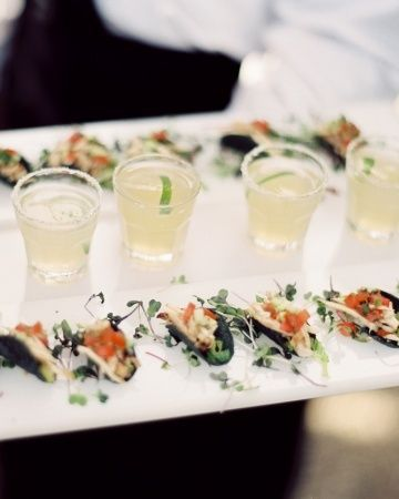 Obsessed with these mini tacos + mini margarita passed as a cocktail hour combo via Martha Stewart Weddings