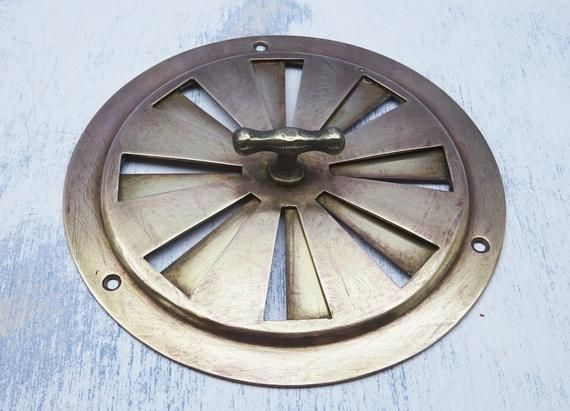 Victorian Brass Hit And Miss Air Vent Circular Boat Deck Vent Adjustable Cupboard Vent Vintage Brass Vent Yacht Retro Home Decor Home Finder Boat Supplies