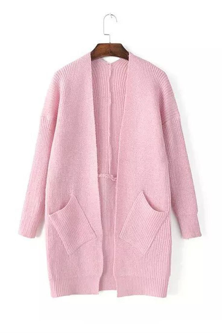 Vintage Pastel Pink Long Sleeve Pockets Knit Cardigan