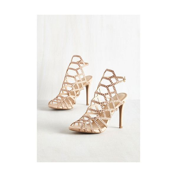 Divine and Contour Heel ($50) ❤ liked on Polyvore featuring shoes, pumps, cream, heels, other heel, peep toe shoes, heel pump, cream pumps, rhinestone peep toe pumps and rhinestone shoes