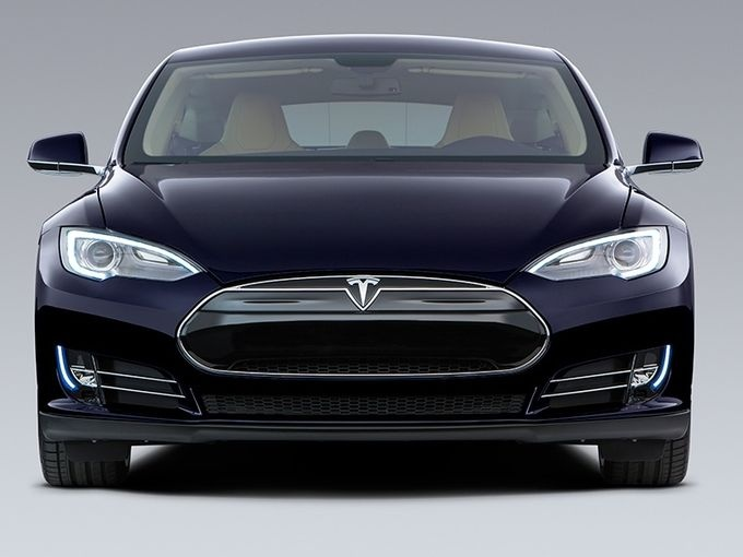 Tesla Model S electric car, which has a range of 208 miles to 265 miles depending on the size of battery and price.