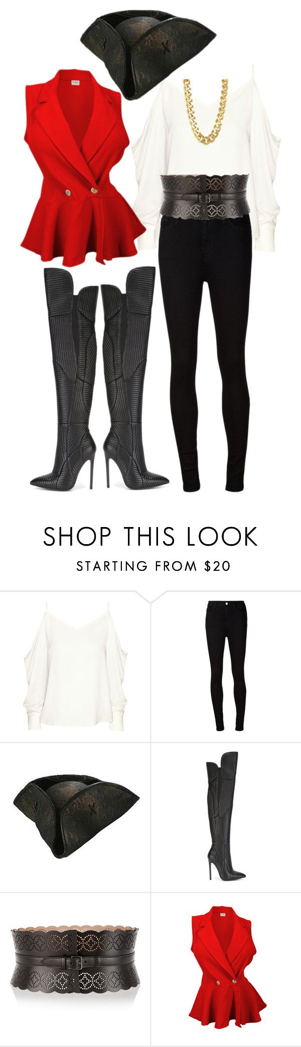 """Pirate Costume"" by yoyostyle ❤ liked on Polyvore featuring H&M, AG Adriano Goldschmied, Gianni Renzi, Alaïa and CC SKYE"
