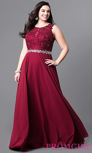 Plus Size Long Lace Bodice Prom Dress at PromGirl.com