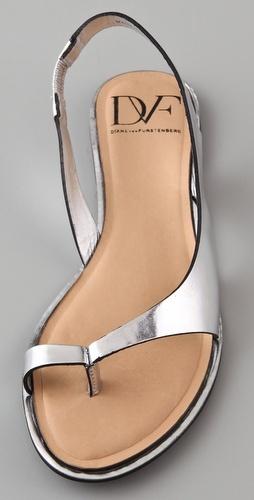 flat silver sandals (DVF)