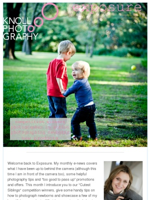 Knoll Photography's June newsletter  - Exposure - filled with photography news, tips and promotions