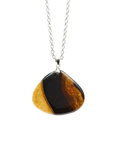Look at this #zulilyfind! Orange & Black Agate Pendant Necklace #zulilyfinds #jewelry #jewelrysale #giftidea #sale #gift #fashion #fashionjewelry #pavcusdesigns #pavcus #womensfashion #womensjewelry #bling #springfashion #agate #pendant #neckalce