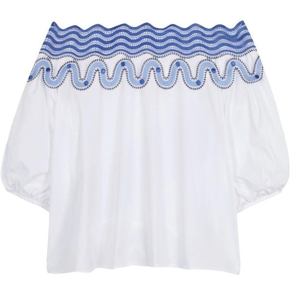 6f2eef056106b Womens Short-Sleeved Tops Peter Pilotto Pallas White Cotton Blend Top  (9.635.055 IDR) ❤ liked on Polyvore featuring tops