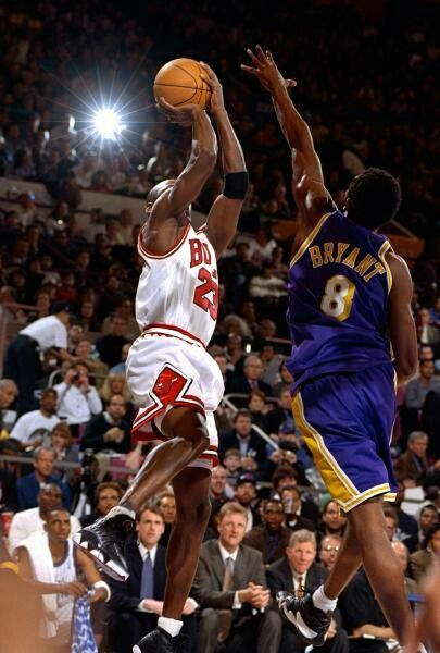 The GOAT gets off the jumper over Kobe Bryant in an all star game in New York.