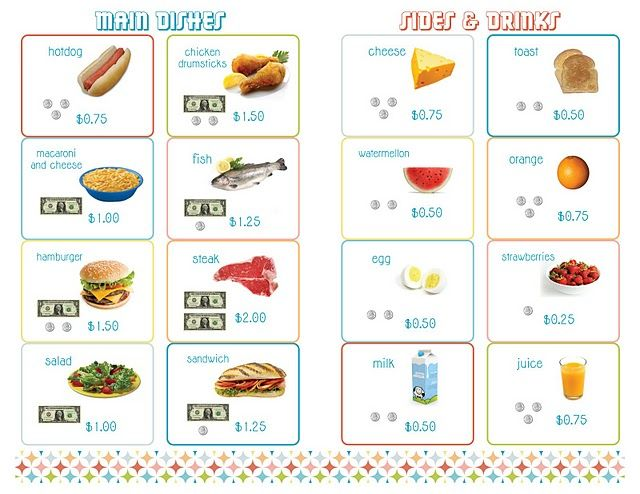 PRINTABLE Menus for Playing Restaurant... really great including menu items and prices with pictures of money
