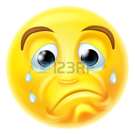 A sad crying emoji emoticon smiley face character with tears streaming down his face Stock Vector