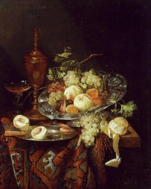 Abraham van Beyeren: stilleven met fruit. 1660's. The Ashmolean Museum of Art and Archaeology, Oxford. De attributen zoals de geschilde citroen, druiven, tinnen bord met mes, de doormidden gesneden perzik, de garnalen en het oosterse tapijt, gebruikt Van Beyeren ook in andere stillevens. Maar het oosterse tapijt komt minder voor dan de rest.