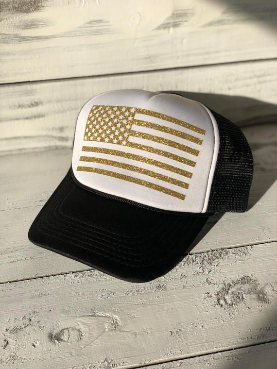 American Flag Sparkle Trucker Hat Black & Gold | Etsy Store
