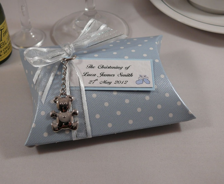 Blue dot christening favour pillow box with silver bear charm