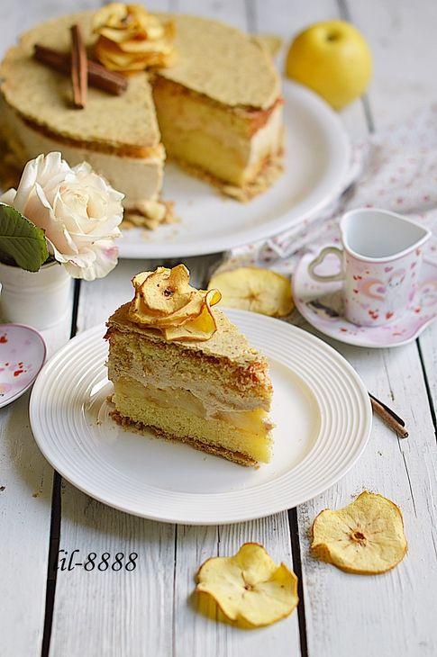 Яблочный торт с карамельным баварским муссом с корицей пошаговый рецепт с фотографиями