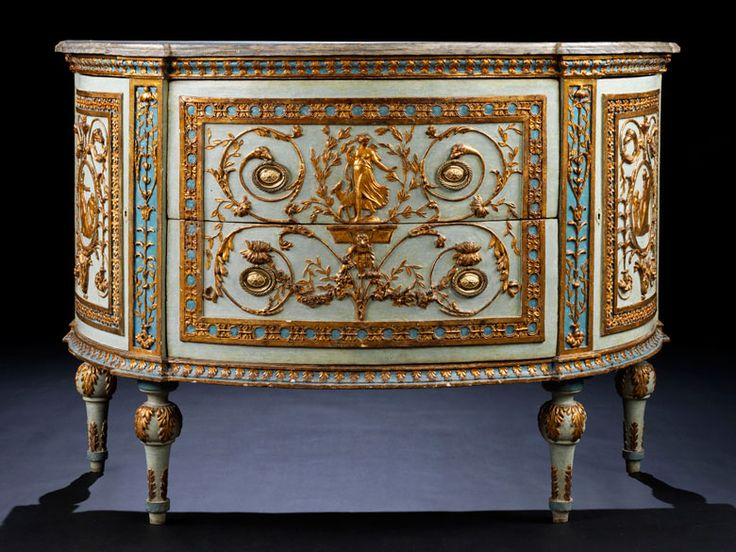 Important demi-lune dresser by Giuseppe Maria Bonzanigo, 1745 - 1820 Height: 90 cm. Width: 125 cm. depth: 60 cm. Italy, late 18th century.