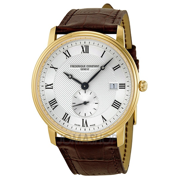 Frederique Constant Classics Silver Guilloche Dial Brown Leather Mens Watch 245M5S5 $568.75