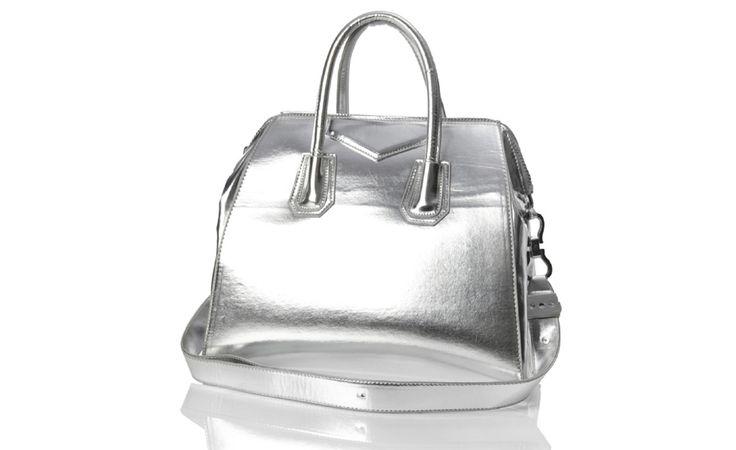 Poseta eleganta argintie din piele eco