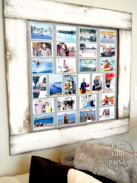 So I grouped the photos onto a frame that I built using fence boards and underlayment. This is what the construction looks like on...