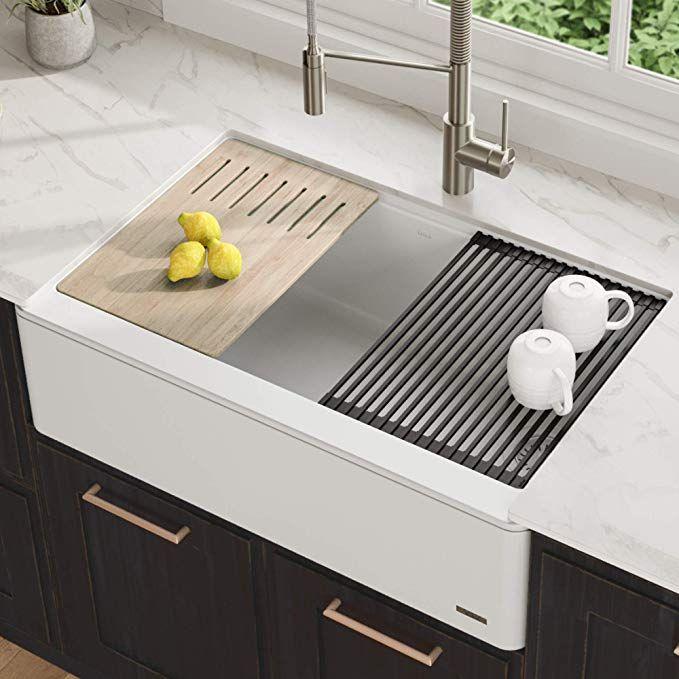 Kraus New Pure White Apron Bellucci Workstation Kitchen Sink