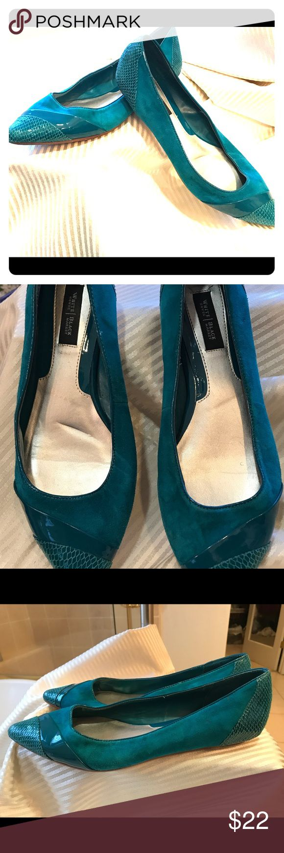 White House Black Market teal flats White House Black Market suede teal flats with snake skin patent leather detail.  Shoes worn only a few times.  Run on the narrow side.  In good condition.  Bundles and offers always welcomed. White House Black Market Shoes Flats & Loafers