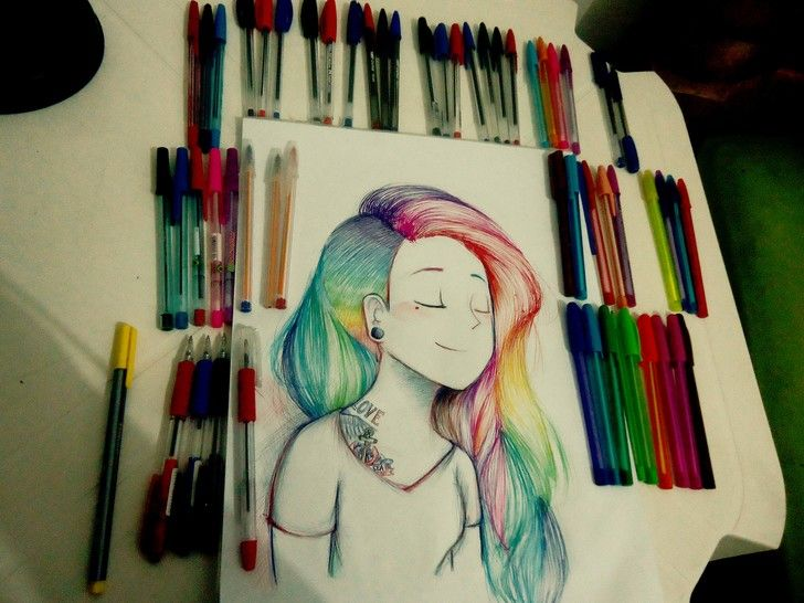 I did this drawing using all my pens