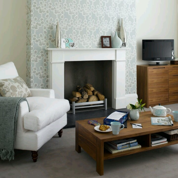 Wallpaper chimney breast nesting fireplace pinterest for Wallpaper for small living room