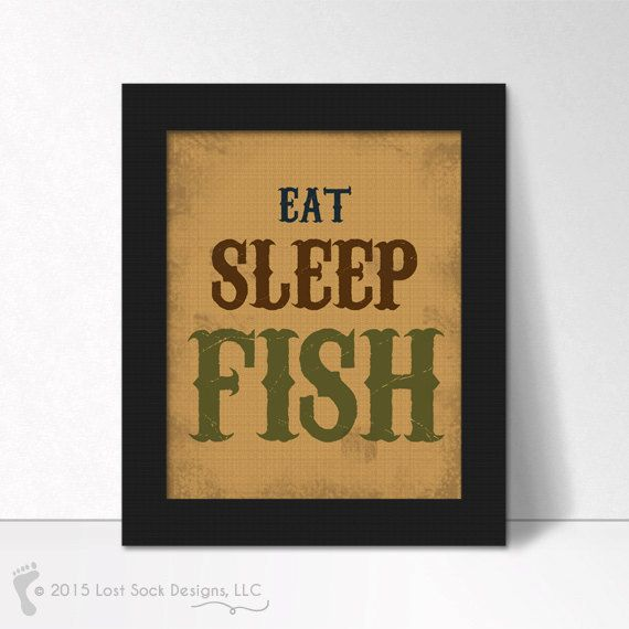 EAT SLEEP FISH Fishing theme Home Decor Wall by LostSockDesigns