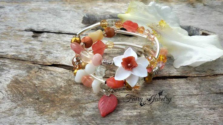 Bracciale fiore narciso pietre dure vetro avvolgibile , by Evangela Fairy Jewelry, 12,00 € su misshobby.com