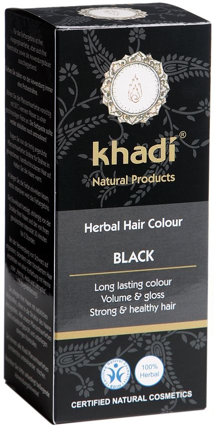 Khadi Herbal Hair Colour Black colours hair a warm black shade giving long lasting colour and leaves your hair shiny, strong and healthy. You can create your own hair colour by mixing Khadi Amla, Henna, Indigo & Cassia, the world is your oyster, in the form of hair colouring. BDIH Certified. Vegan.