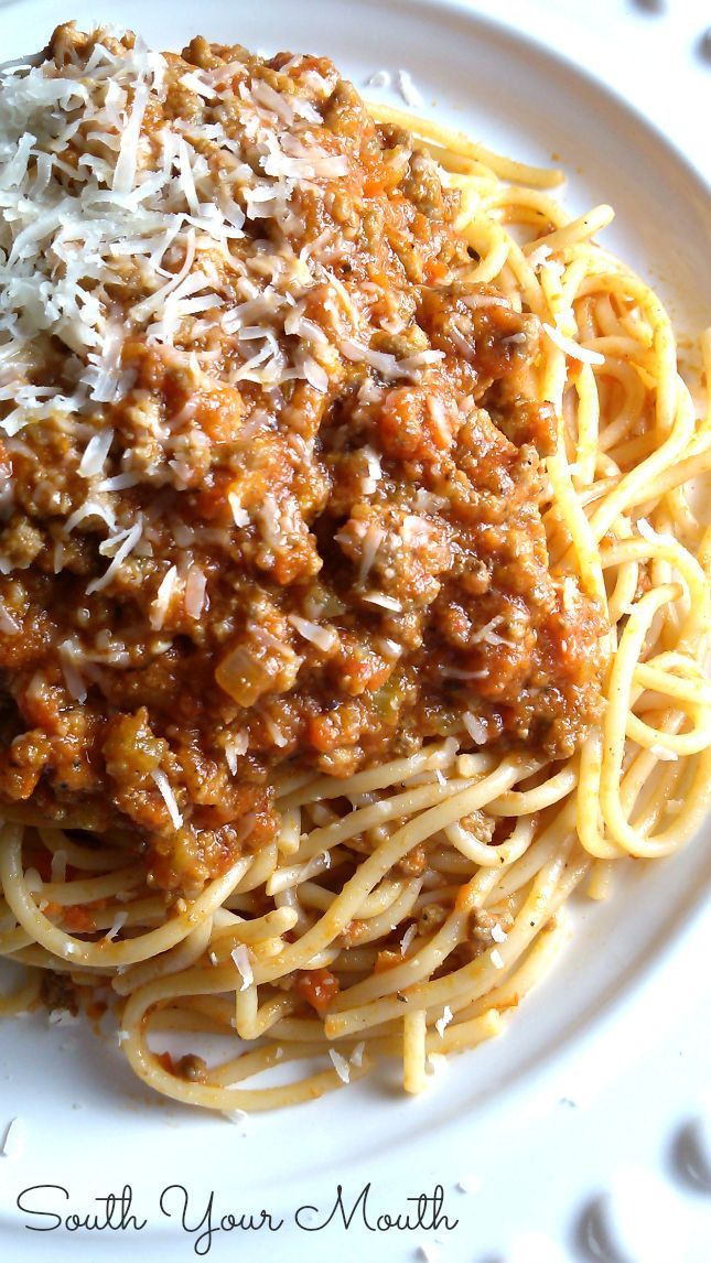 "Bolognese Sauce- ""This sauce is more about the meat and layering of flavors and less about the tomatoes. You cook this for hours uncovered so that the sauce reduces and the flavors really intensify."""