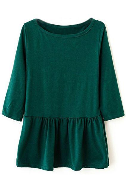 Dark green peplum ruffle blouse top shirt