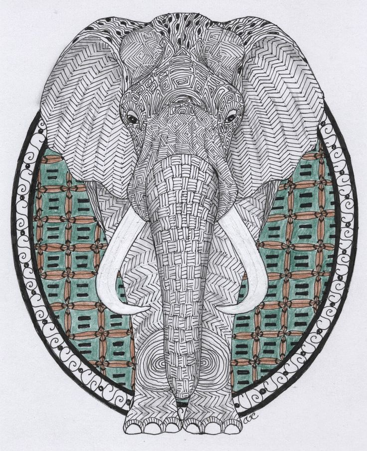 zentangle elephant Adult Colouring Elephants Zentangles