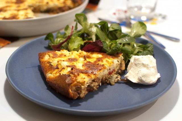 (Skallös paj) Grönsaksgratäng, vegetarisk vardagsmat