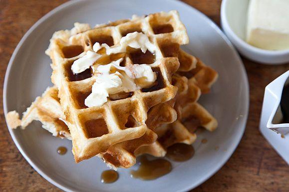 Aretha Frankenstein's Waffles of Insane Greatness from Aretha Frankenstein's restaurant in Chattanooga, TN. via food52: The secret to the awesomeness cornstarch. #Waffles #food52 #Aretha_Frankenstein
