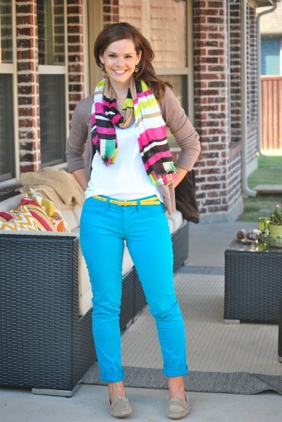 Color block scarf and turquoise jeans.