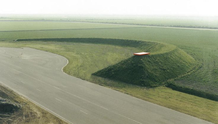 Land art with red steel element - land art project, homage to El Lissitzky - 1985|1986 - 100x200x7.50m - test circuit and test center of the national Road and Transport Department of The Netherlands - Lelystad NL (the work has been demolished in the early nineties)
