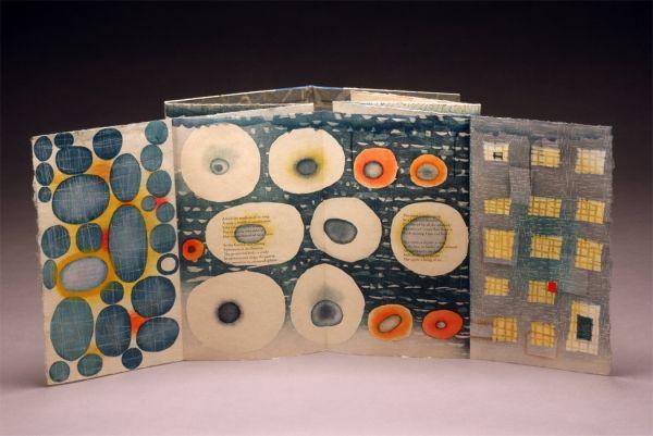 "Ephemera by Karen Kunc. 2009 artist book: woodcut, letterpress, polymer relief, leather. Poems by Robert Pinsky. 10"" x 6"" folded, 10"" x 42"" unfolded"