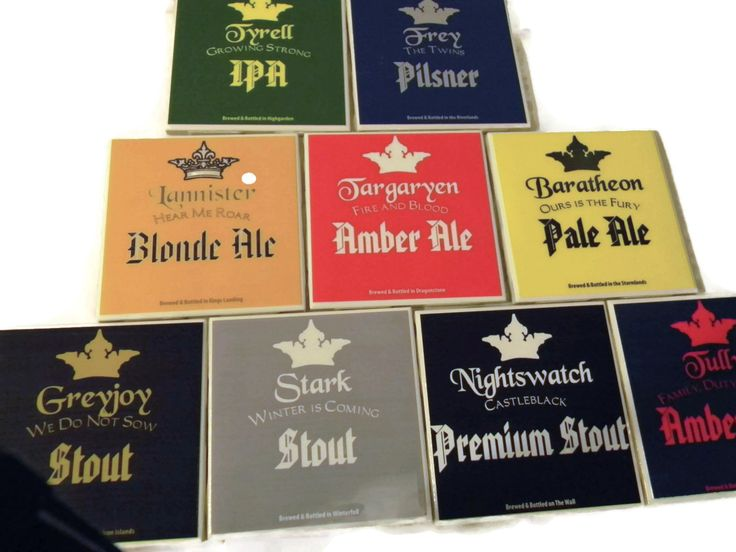 Game of Thrones Ceramic Coasters 4x4 (Variety Pack of 9) Lannister, Stark, Targaryen, Baratheon, Nightswatch, Greyjoy, Tully, Frey, Tyrell