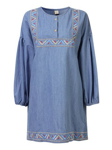 6c22e82eabe Casual Embroider Ethnic Denim Mini Dress   normal dresses in 2019   Denim, Embroidery  dress, Dresses with sleeves