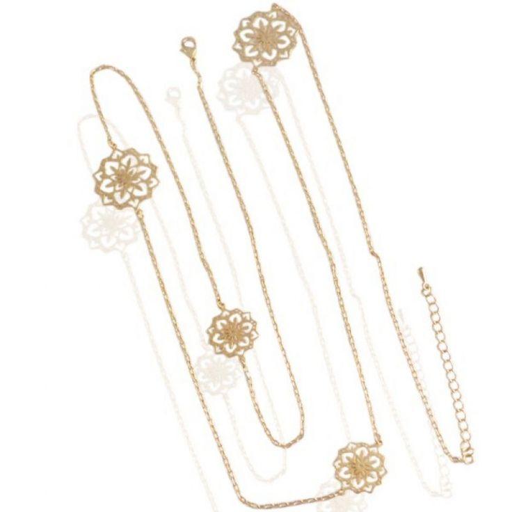 Gouden ketting bloem ornament