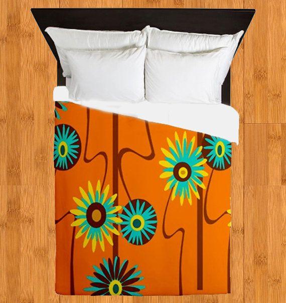 Modern Duvet Cover Orange Floral  Duvet Cover by crashpaddesigns