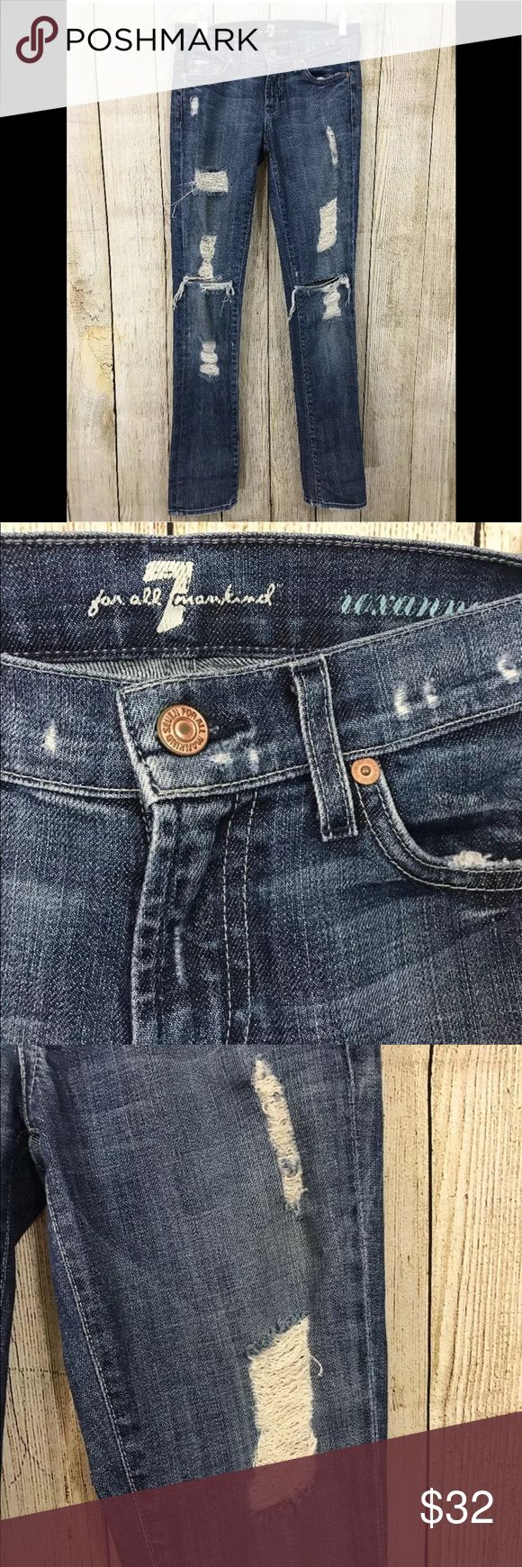Seven 7 for all mankind Roxanne skinny jeans sz 24 Seven 7 jeans!!! Roxanne fit, skinny factory distressed super sexy! Size 24  917-098-P Seven7 Jeans Skinny