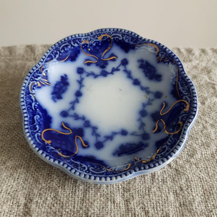 Grindley flow blue butter pat, Waverly pattern  // blue & white slip pattern, Victorian dinnerware, tableware, ironstone, miniature plate by BlueChickenVintage on Etsy