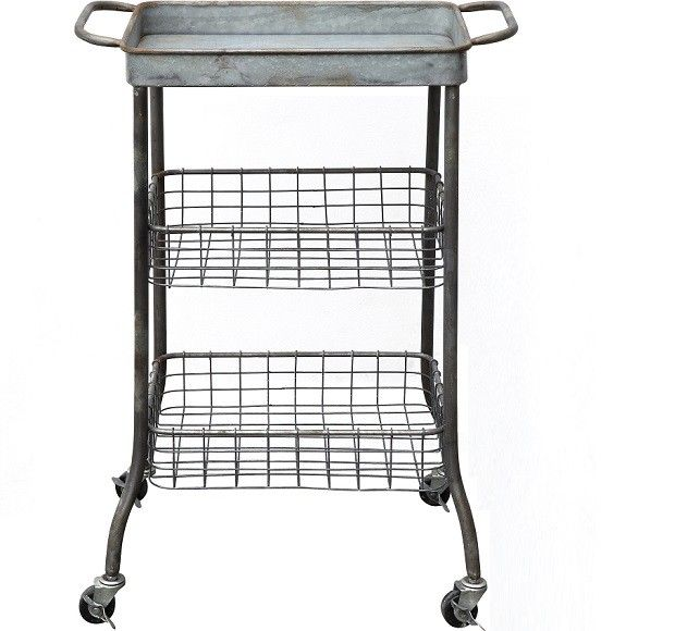 Tin Kitchen Cart On Wheels With 2 Wire Shelves | Metal Rolling Cart | Rolling Basket Cart