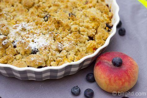 Pfirsich-Heidelbeer-Crumble ♥ Peach blueberry crumble