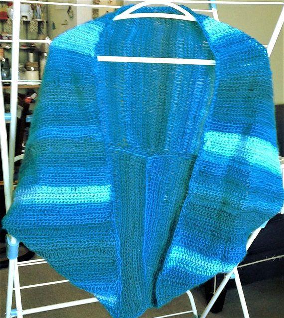 Crochet shrug jacket in super soft blue shades