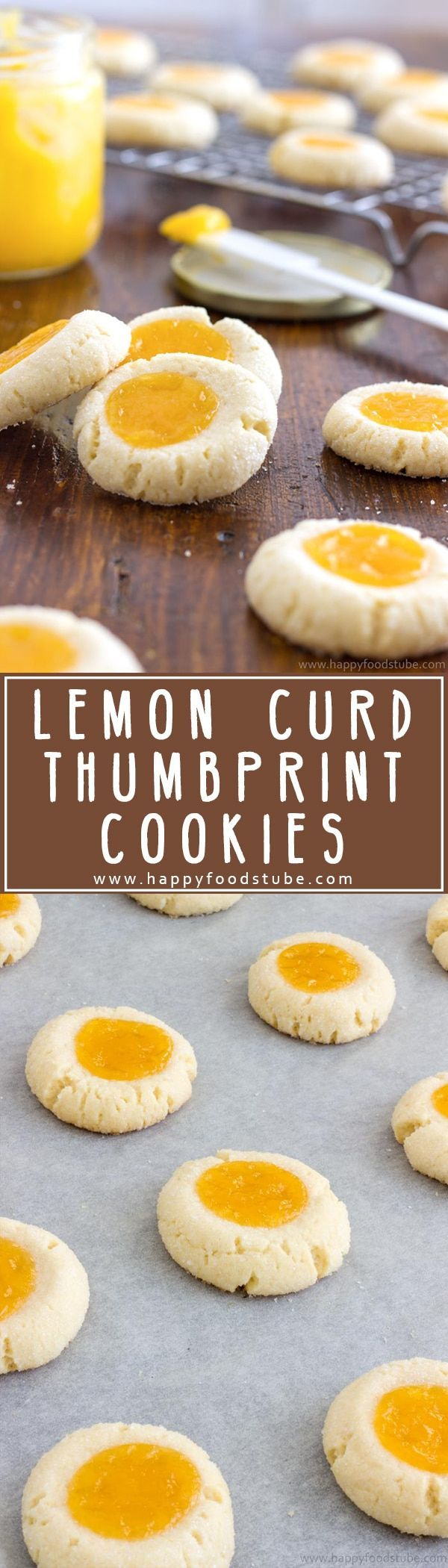 Homemade Lemon Curd Thumbprint Cookies are pure perfection. A combination of sweet buttery cookies and citrusy topping with a hint of almonds via @happyfoodstube